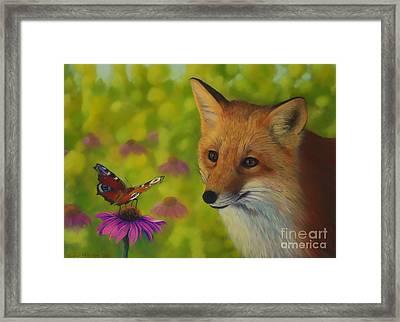 Fox And Butterfly Framed Print by Veikko Suikkanen