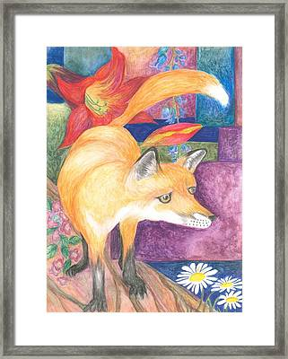 fox Framed Print by Cherie Sexsmith
