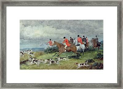 Fox Hunting In Surrey Framed Print by Randolph