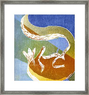 Fox Roll Framed Print by Rebecca Bourke