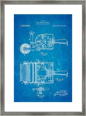 Fox Shoe Polishing Machine Patent Art 1917 Blueprint Framed Print by Ian Monk