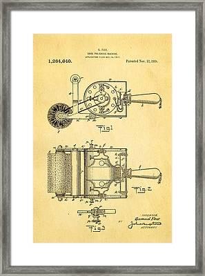 Fox Shoe Polishing Machine Patent Art 1917 Framed Print by Ian Monk