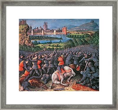 Battle Scene From Passages Faits Outremer Written By Sebastien Mamerot Framed Print by French School