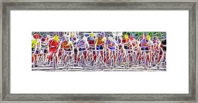 Fractal Cyclists Framed Print by Steve Ohlsen