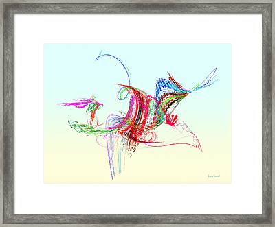 Fractal - Flying Bird Framed Print by Susan Savad