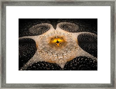 Fractal Galaxy With Sparkling Stars Gold And White Framed Print by Matthias Hauser