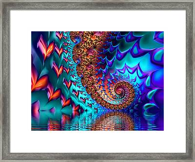 Fractal Sea Of Love With Hearts Framed Print by Matthias Hauser