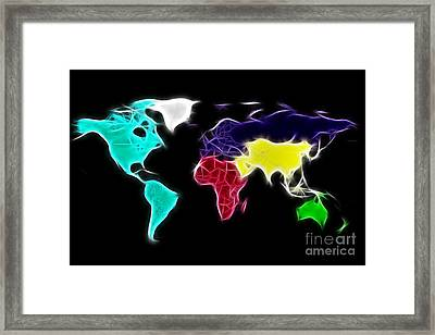 Fractal World Map Framed Print by Delphimages Photo Creations