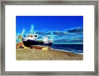 Fractalius Fishing Framed Print by Sharon Lisa Clarke