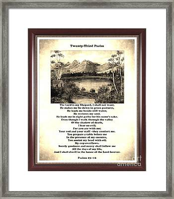 Framed Vintage 23rd Psalm Sepia Framed Print by Barbara Griffin