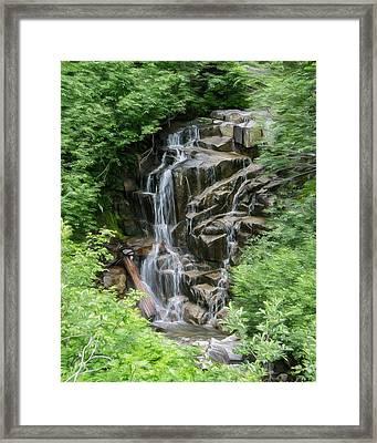 Framed Waterfalls On Mount Rainier Framed Print by John Haldane