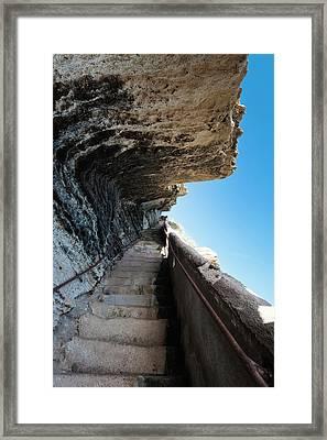 France, Corsica, Bonifacio, Escalier Du Framed Print by Walter Bibikow