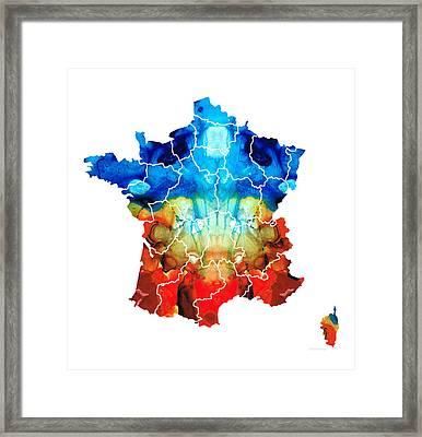 France - European Map By Sharon Cummings Framed Print by Sharon Cummings