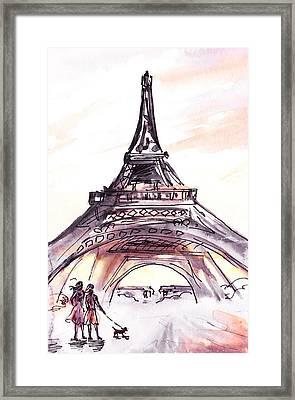 France Sketches Walking To The Eiffel Tower Framed Print by Irina Sztukowski