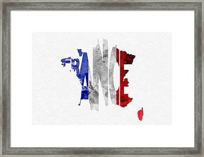 France Typographic Map Flag Framed Print by Ayse Deniz