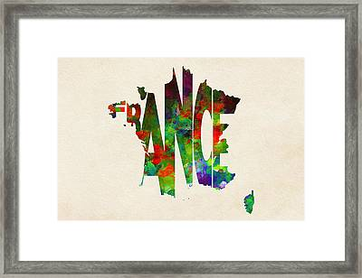 France Typographic Watercolor Map Framed Print by Ayse Deniz