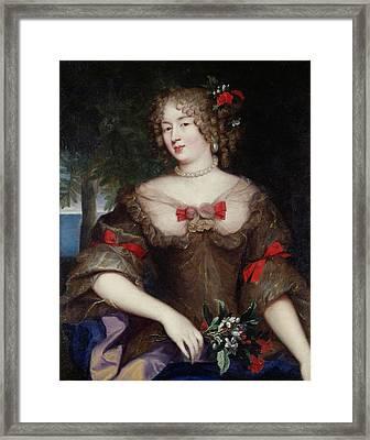 Francoise De Sevigne 1646-1705 Countess Of Grignan Oil On Canvas Framed Print by Pierre Mignard