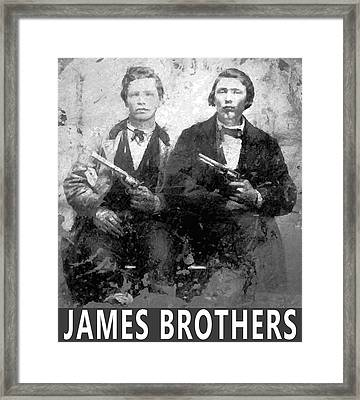 Frank And Jesse James Outlaws Framed Print by Daniel Hagerman