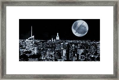 Man In The Moon Framed Print featuring the digital art Frank Sinatra New York City Moon by Dan Sproul
