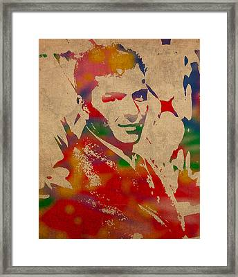 Frank Sinatra Watercolor Portrait On Worn Distressed Canvas Framed Print by Design Turnpike