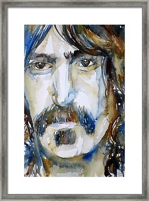 Frank Zappa Watercolor Portrait.2 Framed Print by Fabrizio Cassetta
