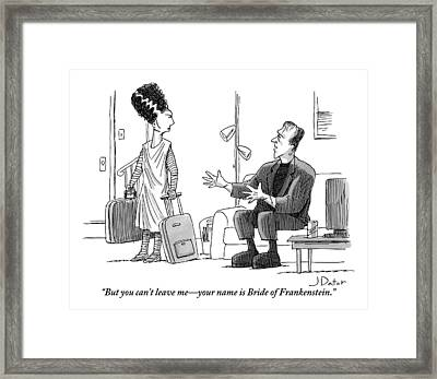 Frankenstein Sits On A Couch Motioning Framed Print by Joe Dator