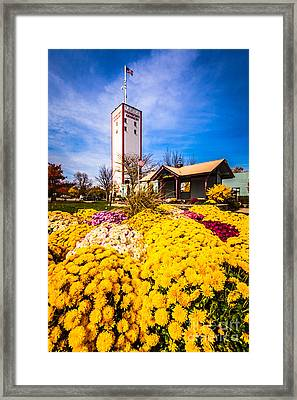 Frankfort Illinois And Frankort Grainery With Flowers Framed Print by Paul Velgos
