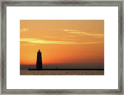 Frankfort North Breakwater Lighthouse Framed Print by Adam Romanowicz