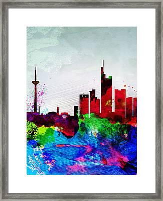 Frankfurt Watercolor Skyline Framed Print by Naxart Studio