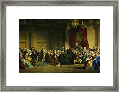Franklin Before The Lord's Council Framed Print by Celestial Images