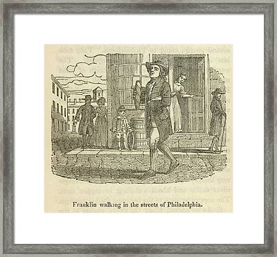 Franklin Walking In Philadelphia Framed Print by British Library