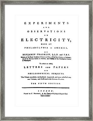 Franklins Experiments With Electricity Framed Print by Science Source