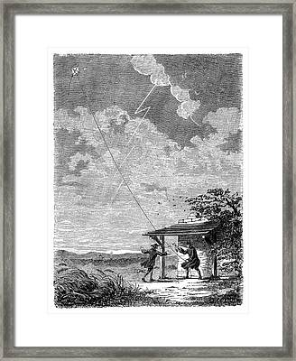 Franklin's Lightning Experiment Framed Print by Science Photo Library
