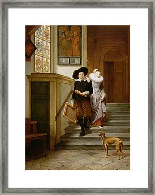 Frans Hals And His Wife Lysbeth Framed Print by Gerrit Postma