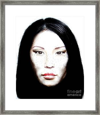 Freckle Faced Beauty Lucy Liu  II Framed Print by Jim Fitzpatrick