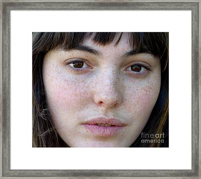 Freckle Faced Beauty Model Closeup II Framed Print by Jim Fitzpatrick
