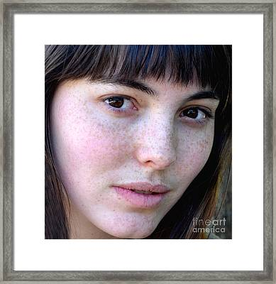 Freckle Faced Beauty Model Closeup IIi Framed Print by Jim Fitzpatrick