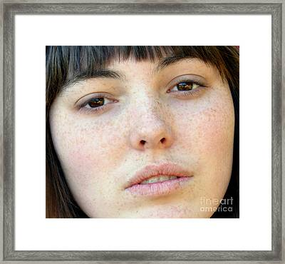 Freckle Faced Beauty Model Closeup Framed Print by Jim Fitzpatrick