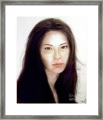 Freckled Faced Beauty Lucy Liu  Framed Print by Jim Fitzpatrick