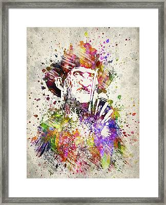 Freddy Krueger In Color Framed Print by Aged Pixel