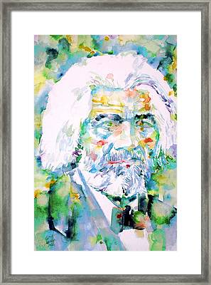 Frederick Douglass - Watercolor Portrait Framed Print by Fabrizio Cassetta