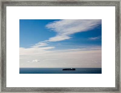 Freighter In The Sea, Point Bonita Framed Print by Panoramic Images
