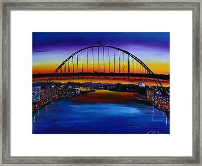 Fremont Bridge At Dusk 5 Framed Print by Portland Art Creations