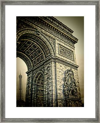 French - Arc De Triomphe And Eiffel Tower Framed Print by Lee Dos Santos