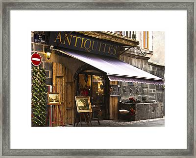 French Antique Store In Clermont Ferrand  Framed Print by Georgia Fowler