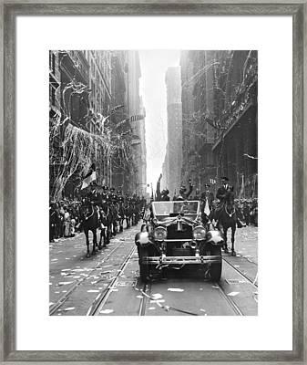 French Aviators Ny Parade Framed Print by Underwood Archives