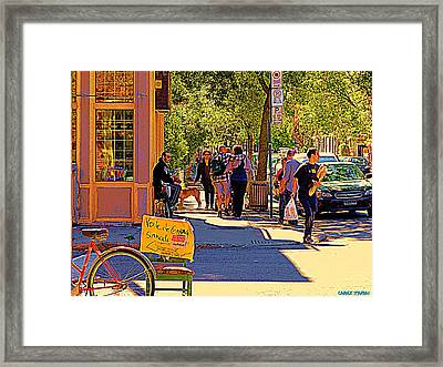 French Bread On Laurier Street Montreal Cafe Scene Sunny Corner With Vente De Garage Sign Framed Print by Carole Spandau
