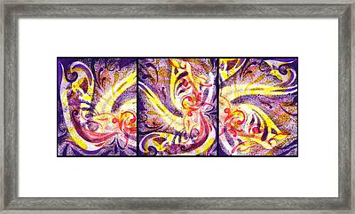 French Curve Abstract Movement Vii Happy Trio Framed Print by Irina Sztukowski