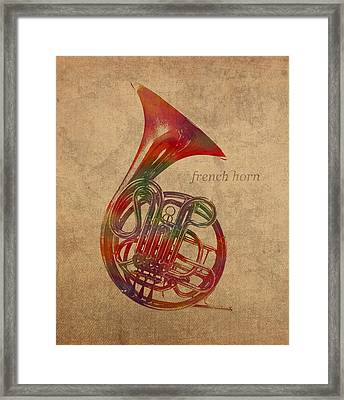French Horn Brass Instrument Watercolor Portrait On Worn Canvas Framed Print by Design Turnpike