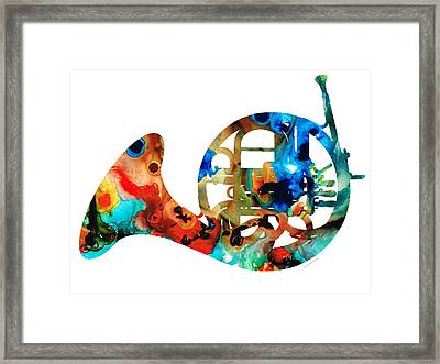 French Horn - Colorful Music By Sharon Cummings Framed Print by Sharon Cummings